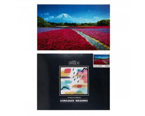 Алмазная мозаика 50*65см КОКОС Поле цветов полная выкладка холст на подрамнике 211255
